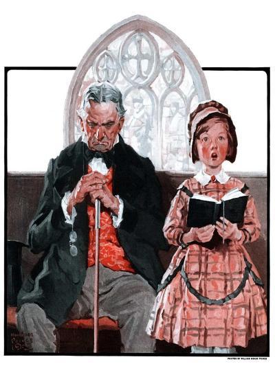 """Grandpa Sleeps, Girl Sings in Church,""April 11, 1925-William Meade Prince-Giclee Print"