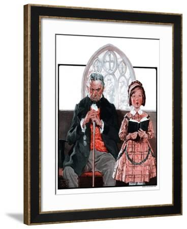"""Grandpa Sleeps, Girl Sings in Church,""April 11, 1925-William Meade Prince-Framed Giclee Print"