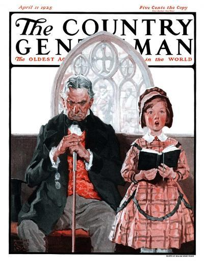 """""""Grandpa Sleeps, Girl Sings in Church,"""" Country Gentleman Cover, April 11, 1925-William Meade Prince-Giclee Print"""