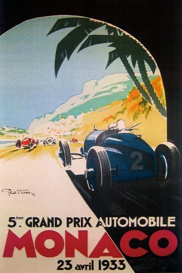Grandprix Automobile Monaco 1933--Premium Giclee Print