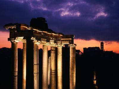 Granite Columns Illuminated Against Sky at Sunrise, Rome, Italy-Jonathan Smith-Photographic Print