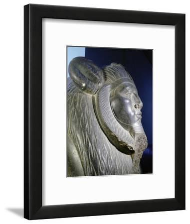 Granite portrait sphinx of Amenemhat III, Ancient Egyptian, Middle Kingdom, 12th dynasty, c1850 BC-Werner Forman-Framed Giclee Print