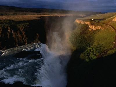 Gulfoss Waterfall and Canyon at Sunrise, Gullfoss, Vesturland, Iceland