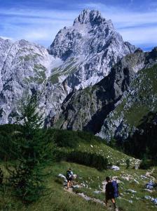 Hikers on Konigsee-Wimbachtal Below South Peak of Waltzmann, Berchtesgaden, Bavaria, Germany by Grant Dixon
