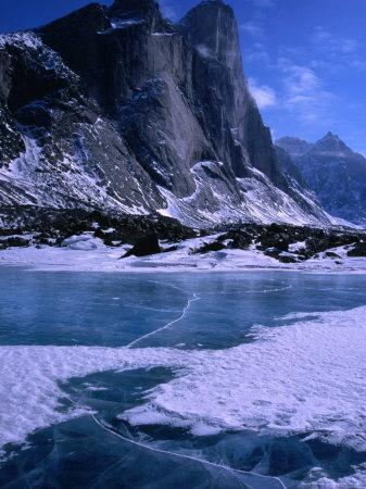 Mt. Thor and Frozen Kettle Lake, Auyuittuq National Park, Baffin Island, Nunavut, Canada