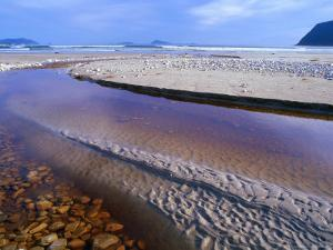 Shallow Water on Stones and Sand at Estuary on Cox Bluff, South West Nat. Park, Tasmania, Australia by Grant Dixon