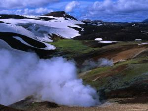 Steam Rising from Storihiver Hot Springs, Fjallabak Nature Reserve, Sudurland, Iceland by Grant Dixon