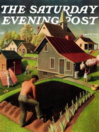 """""""Spring 1942,"""" Saturday Evening Post Cover, April 18, 1942 by Grant Wood"""