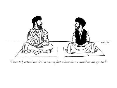 """""""Granted, actual music is a no-no, but where do we stand on air guitar?"""" - New Yorker Cartoon-Alex Gregory-Premium Giclee Print"""