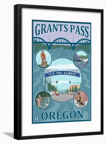 Grants Pass, Oregon - Scenic Travel Poster-Lantern Press-Framed Art Print