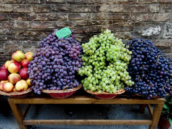 Grapes and Nectarines on a Bench at a Siena Market, Tuscany, Italy-Todd Gipstein-Photographic Print