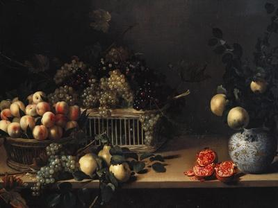Grapes and Peaches in Wicker Baskets, with Apples, Pears, and Pomegranates on a Table-Cristofano Allori-Giclee Print