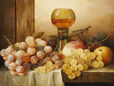 Grapes, Apple, Plums and Peach with Hock Glass on Draped Ledge-Edward Ladell-Giclee Print