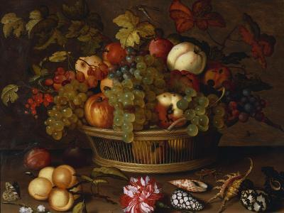 Grapes, Apples, a Peach and Plums in a Basket with Lily of the Valley-Balthasar van der Ast-Giclee Print