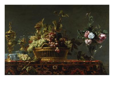 Grapes in a Basket and Roses in a Vase-Frans Snyders-Giclee Print