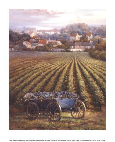 Grapes on Blue Wagon-Rosa Chavez-Art Print