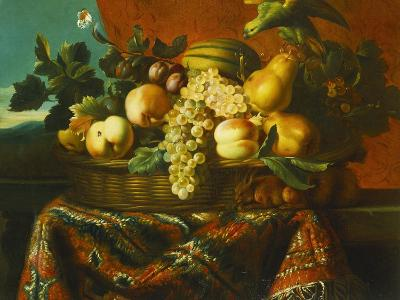 Grapes, Peaches, Plums, Pears and a Melon in a Basket with a Parakeet, a Red Squirrel and a…-Pierre Dupuis-Giclee Print