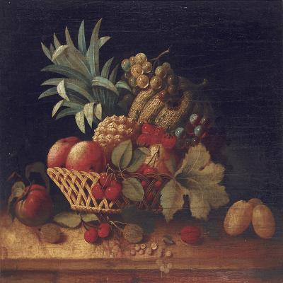 Grapes, Plums, Cherries, Peaches, an Apple, a Pineapple, and a Melon, in a Wicker Basket-Charles Lewis-Giclee Print