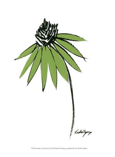 Graphic Cone Flower I-Deborah Velasquez-Art Print