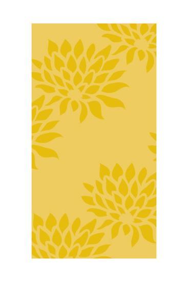 Graphic Flowers on Yellow Panels--Art Print