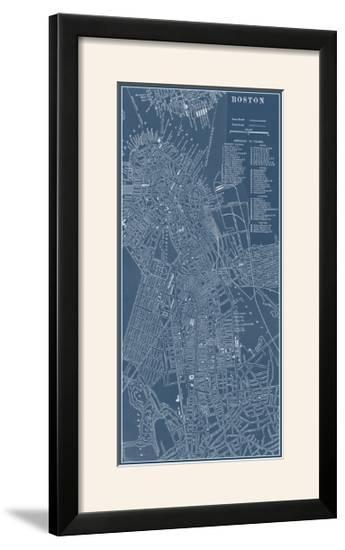 Graphic Map of Boston-Vision Studio-Framed Photographic Print