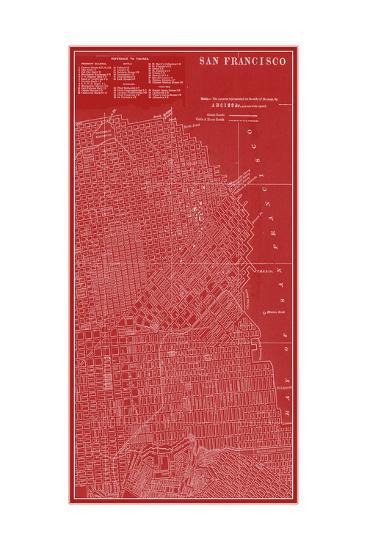 Graphic Map of San Francisco-Vision Studio-Premium Giclee Print