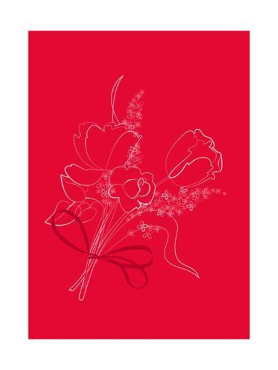 Graphic Outline of Bouquet on Bright Red--Art Print