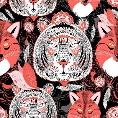 Graphic Pattern of Portraits of Beautiful Tigers and Foxes on a Black-Tatiana Korchemkina-Art Print