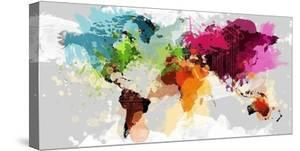 Beautiful world maps stretched canvas prints artwork for sale colourful world map gumiabroncs Gallery