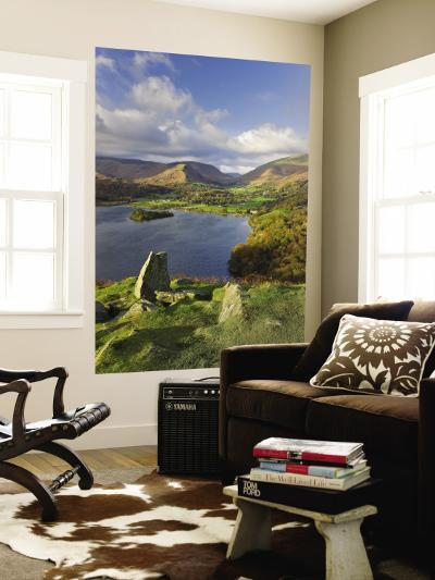 Grasmere Lake and Village from Loughrigg Fell, Lake District, Cumbria, England-Gavin Hellier-Wall Mural