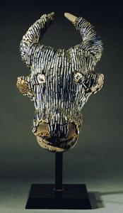 Grassfields Cameroon Visor Mask in the Form of a Water Buffalo with Broad Curved Horns