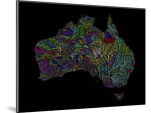 River Basins Of Australia In Rainbow Colours by Grasshopper Geography