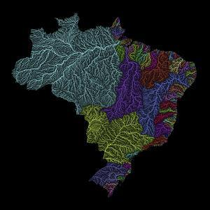 River Basins Of Brazil In Rainbow Colours by Grasshopper Geography