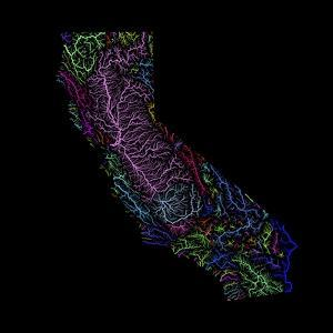 River Basins Of California In Rainbow Colours by Grasshopper Geography