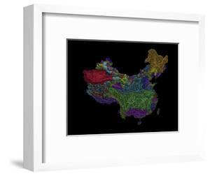 River Basins Of China In Rainbow Colours by Grasshopper Geography