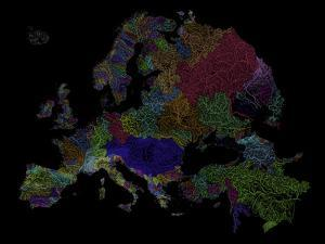 River Basins of Europe in Rainbow Colours by Grasshopper Geography