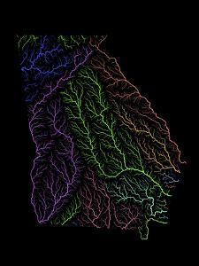River Basins Of Georgia In Rainbow Colours by Grasshopper Geography