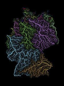 River Basins Of Germany In Rainbow Colours by Grasshopper Geography
