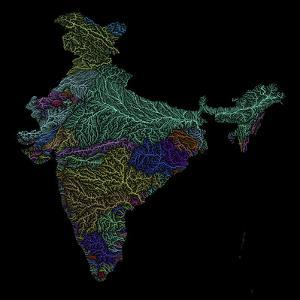 River Basins Of India In Rainbow Colours by Grasshopper Geography