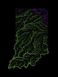 River Basins Of Indiana In Rainbow Colours by Grasshopper Geography