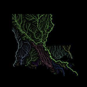 River Basins Of Louisiana In Rainbow Colours by Grasshopper Geography