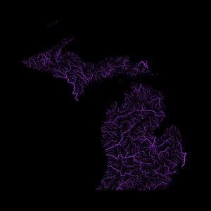 River Basins Of Michigan In Rainbow Colours by Grasshopper Geography