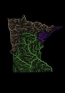 River Basins Of Minnesota In Rainbow Colours by Grasshopper Geography