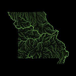 River Basins Of Missouri In Rainbow Colours by Grasshopper Geography