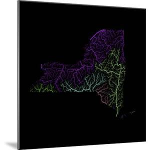 River Basins Of New York In Rainbow Colours by Grasshopper Geography