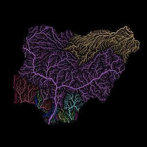 River Basins Of Nigeria In Rainbow Colours by Grasshopper Geography