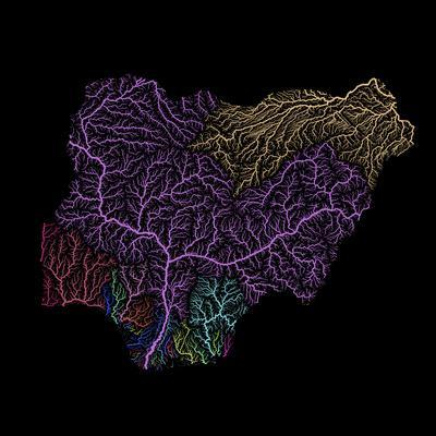 River Basins Of Nigeria In Rainbow Colours