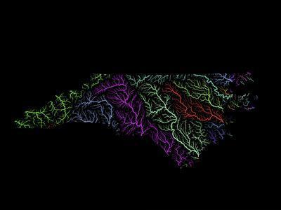 River Basins Of North Carolina In Rainbow Colours