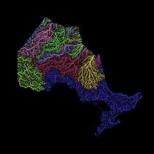 River Basins Of Ontario In Rainbow Colours by Grasshopper Geography