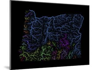 River Basins Of Oregon In Rainbow Colours by Grasshopper Geography